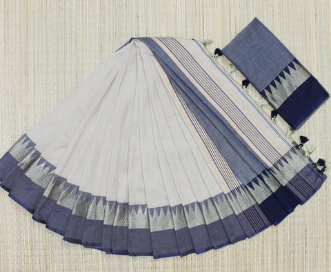 TKBBNBCS- soft temple border beige and navy blue khadi cotton saree with contrast blouse