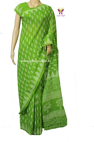 LPPGLF-parrot green baghru leaf printed malmal cotton saree - LydiasPurple