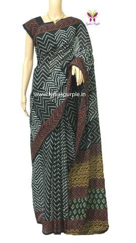 LPBWRL-black,white,red  baghru zig zag printed malmal cotton saree - LydiasPurple