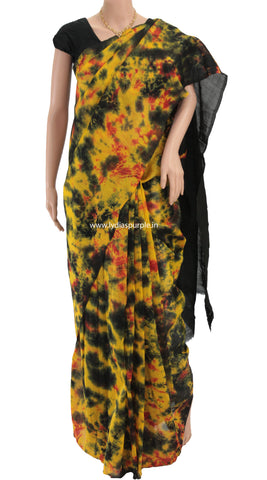 CBBP-Black Chanderi Mercerised Cotton  Batik printed saree - LydiasPurple