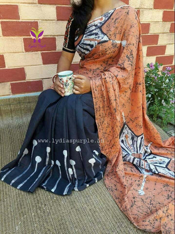DBBR-designer black and brown malmal cotton saree with black blouse
