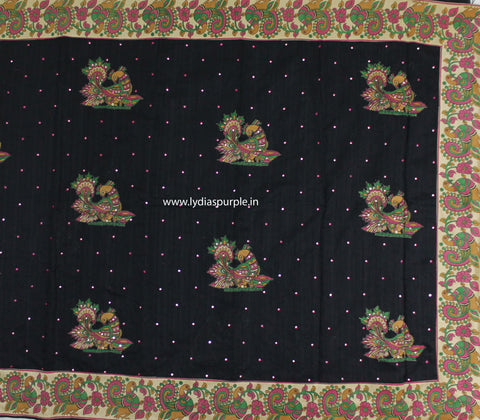 CSKAB- Chanderi Sico kalamkari Applique work  Black saree - LydiasPurple