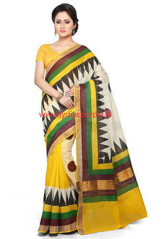 KHBYG05-Kerala hand block print yellow and black saree - LydiasPurple