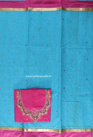 SMBBP02-Supernet  mirror work saree and paired with  maggam work blouse - LydiasPurple