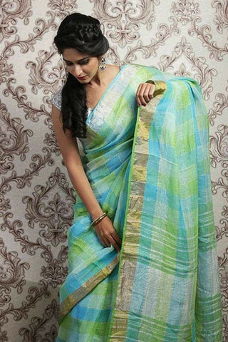 BJTLG-Turquoise and lime green checks linen saree with silver and gold zari - Lydiaspurple