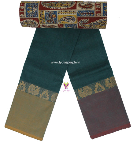 CCST02-Chettinad Cotton saree with peacock and temple peacock thread border and Kalamkari blouse - LydiasPurple