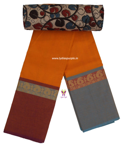 CCST06-Chettinad Cotton saree with mango  thread border and Kalamkari blouse - LydiasPurple