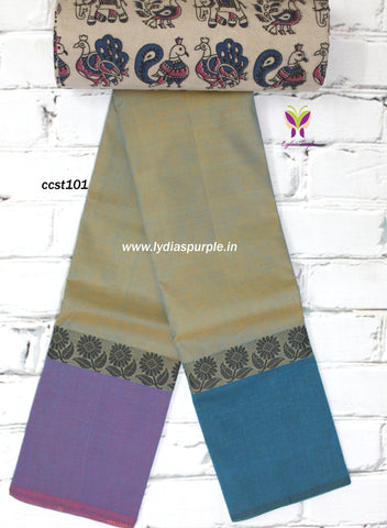CCST101-Chettinad Cotton saree with floral thread border and Kalamkari blouse - Lydiaspurple