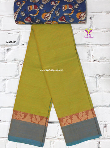CCST102-Chettinad Cotton saree with floral thread border and Kalamkari blouse - Lydiaspurple