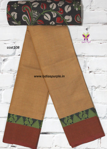 CCST108-Chettinad Cotton saree with peacock thread border and Kalamkari blouse - Lydiaspurple