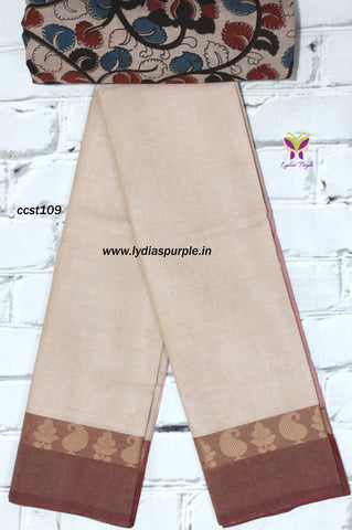 CCST109-Chettinad Cotton saree with flower thread border and Kalamkari blouse - Lydiaspurple