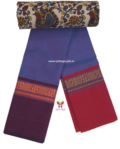 CCST10-Chettinad Cotton saree with zig zag and mango thread border and Kalamkari blouse - LydiasPurple