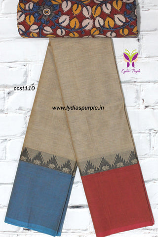 CCST110-Chettinad Cotton saree with temple and lotus thread border and Kalamkari blouse