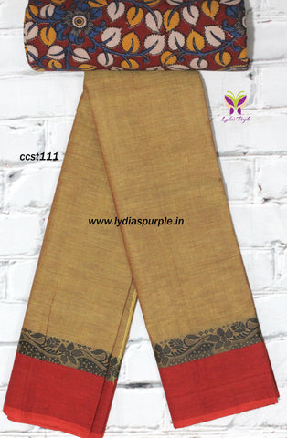 CCST111-Chettinad Cotton saree with flower thread border and Kalamkari blouse - Lydiaspurple