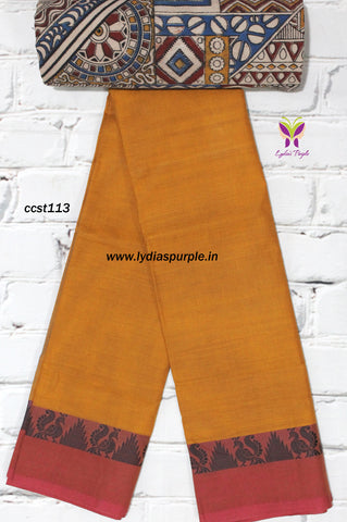 CCST113-Chettinad Cotton saree with temple and peacock thread border and Kalamkari blouse - Lydiaspurple