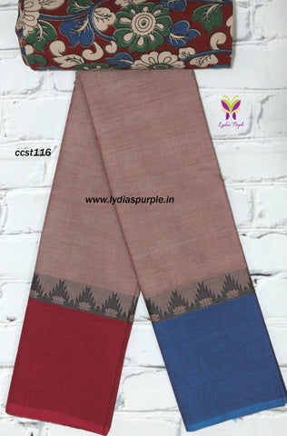 CCST116-Chettinad Cotton saree with temple and lotus thread border and Kalamkari blouse - Lydiaspurple