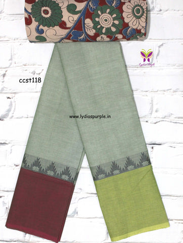 CCST118-Chettinad Cotton saree with temple and lotus thread border and Kalamkari blouse