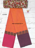 CCST119-Chettinad Cotton saree with flower thread border and Kalamkari blouse - Lydiaspurple