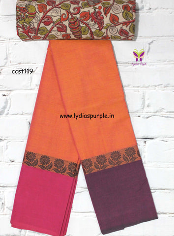 CCST119-Chettinad Cotton saree with flower thread border and Kalamkari blouse