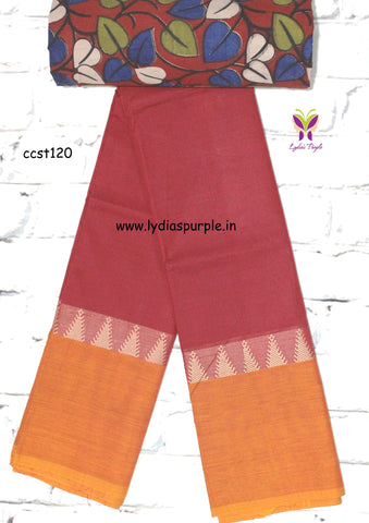 CCST120-Chettinad Cotton saree with temple thread border and Kalamkari blouse - Lydiaspurple