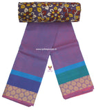 CCST13-Chettinad Cotton saree with flower  thread border and Kalamkari blouse - LydiasPurple