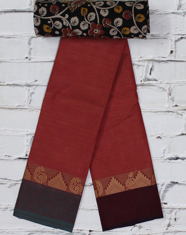 Chettinad cotton saree online with kalamkari blouse - Lydiaspurple