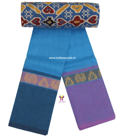 CCST15-Chettinad Cotton saree with peacock and temple peacock border and Kalamkari blouse - LydiasPurple