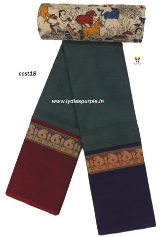 CCST18-Chettinad Cotton saree with mango thread border and Kalamkari blouse - LydiasPurple