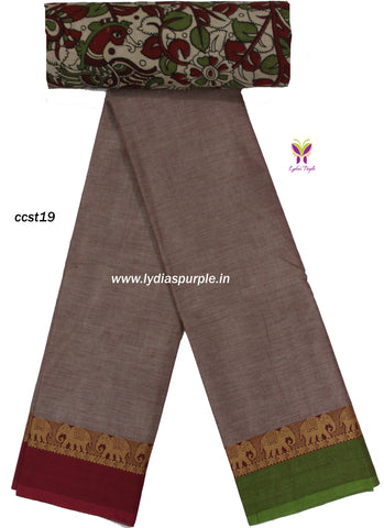 CCST19-Chettinad Cotton saree with elephant thread border and Kalamkari blouse - LydiasPurple