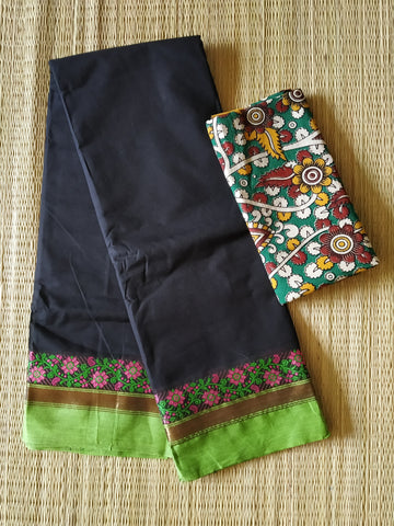CCST232-Chettinad  Cotton saree with pattern thread border and kalamkari blouse