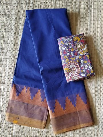 CCST233-Chettinad  Cotton saree with pattern thread border and kalamkari blouse