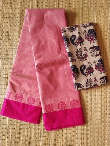 CCST234-Chettinad  Cotton saree with pattern thread border and kalamkari blouse