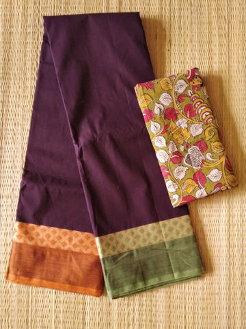 CCST235-Chettinad  Cotton saree with pattern thread border and kalamkari blouse