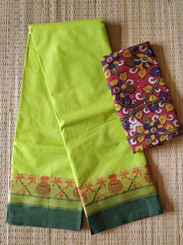 CCST236-Chettinad  Cotton saree with pattern thread border and kalamkari blouse