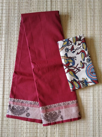 CCST237-Chettinad  Cotton saree with pattern thread border and kalamkari blouse