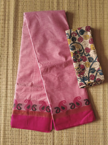 CCST238-Chettinad  Cotton saree with pattern thread border and kalamkari blouse