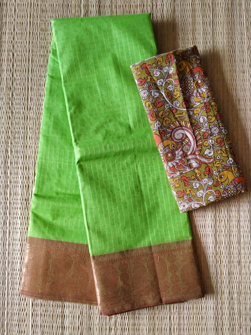 CCST240-Chettinad  Cotton saree with pattern thread border and kalamkari blouse