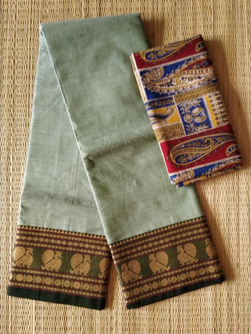 CCST242-Chettinad  Cotton saree with pattern thread border and kalamkari blouse