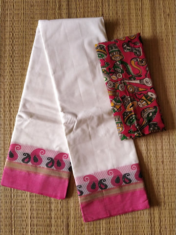 CCST243-Chettinad  Cotton saree with pattern thread border and kalamkari blouse