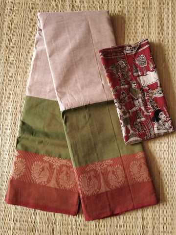 CCST244-Chettinad  Cotton saree with pattern thread border and kalamkari blouse