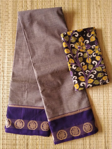 CCST245-Chettinad  Cotton saree with pattern thread border and kalamkari blouse