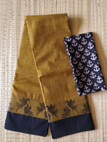 CCST246-Chettinad  Cotton saree with pattern thread border and kalamkari blouse
