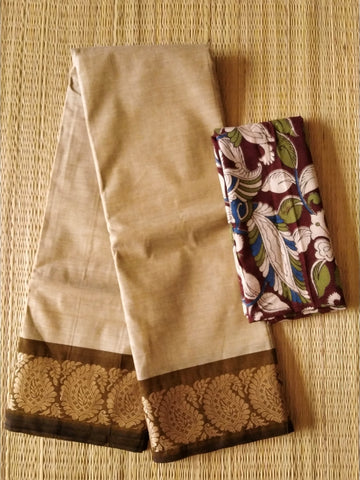 CCST248-Chettinad  Cotton saree with pattern thread border and kalamkari blouse