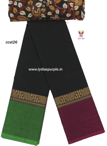 CCST26-Chettinad Cotton saree with mango and stripes thread border and Kalamkari blouse - LydiasPurple