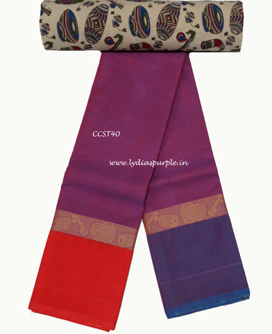 CCST40-Chettinad Cotton saree with musical instruments thread border and Kalamkari blouse - LydiasPurple