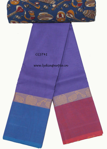 CCST41-Chettinad Cotton saree with musical instruments thread border and Kalamkari blouse - LydiasPurple