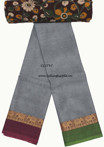 CCST47-Chettinad Cotton saree with musical instruments thread border and Kalamkari blouse - LydiasPurple