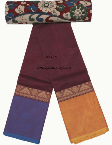 CCST48-Chettinad Cotton saree with musical instruments thread border and Kalamkari blouse - LydiasPurple
