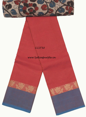 CCST50-Chettinad Cotton saree with musical instruments thread border and Kalamkari blouse - LydiasPurple