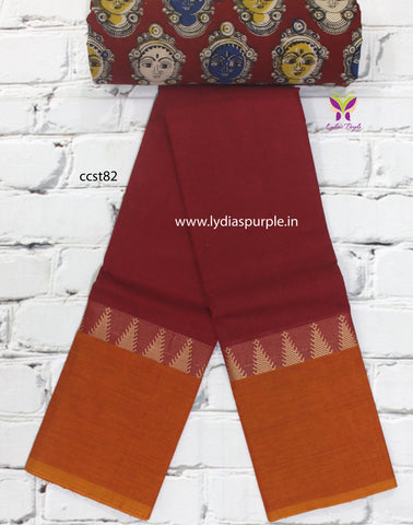 CCST82-Chettinad Cotton saree with temple thread border and Kalamkari blouse - Lydiaspurple